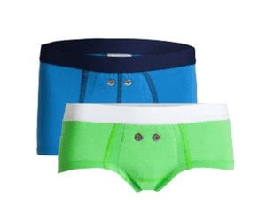 Ondergoed van Urifoon voor de plaswekker voor meisjes en jongens in blauw en groen